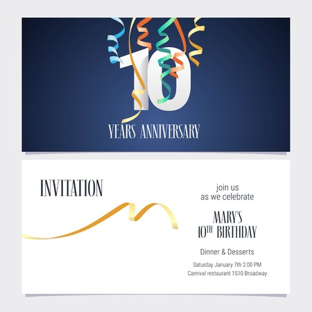 10 years anniversary invitation to celebrate the event vector illustration. Design template element with number and text for 10th birthday card, party invite