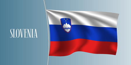 Slovenia waving flag vector illustration. Iconic design element as a national Slovenian symbol