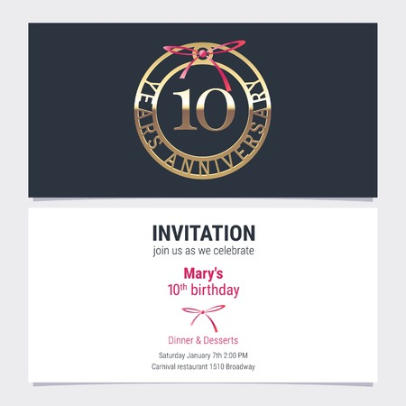 10 years anniversary invitation to celebration event vector illustration. Design element with number and text for 10th birthday card, party invite