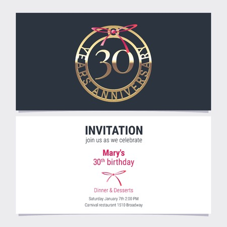 30 years anniversary invitation to celebration event vector illustration. Design element with number and text for 30th birthday card, party invite Vectores
