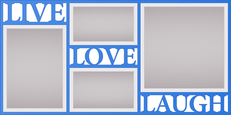 Collage of photo frames vector illustration, background. Sign Live Love Laugh and design element with blank photo frames with borders Ilustração