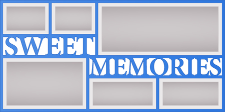 Collage of photo frames vector illustration, background. Sign Sweet memories and design element with blank photo frames with borders