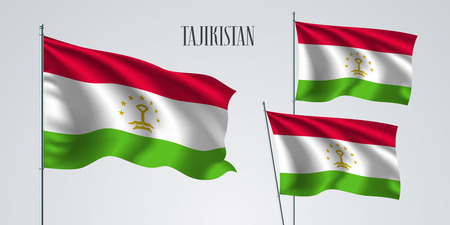 Tajikistan waving flag set of vector illustration. White red colors of Tajikistan wavy realistic flag as a patriotic symbol