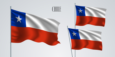 Chile waving flag set of vector illustration. White red colors of Chile wavy realistic flag as a patriotic symbol Illustration