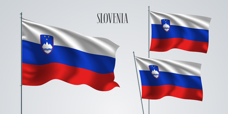 Slovenia waving flag set of vector illustration. Blue red colors of Slovenia wavy realistic flag as a patriotic symbol 일러스트