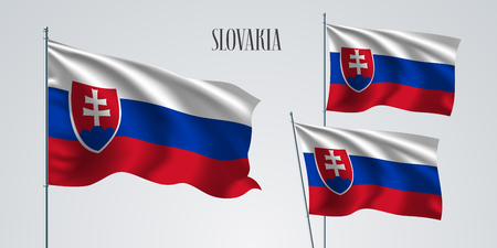 Slovakia waving flag set of vector illustration. Red blue colors of Slovakia wavy realistic flag as a patriotic symbol Illustration