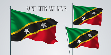 Saint Kitts and Nevis waving flag set of vector illustration. Red green colors of Saint Kitts and Nevis wavy realistic flag as a patriotic symbol