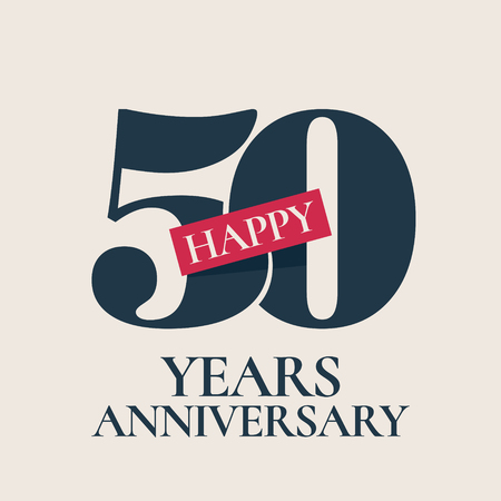 50 years anniversary vector , icon. Template design element, symbol with number for 50th anniversary greeting card