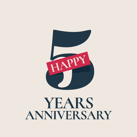 5 years anniversary vector , icon. Template design element, symbol with number for 5th anniversary greeting card