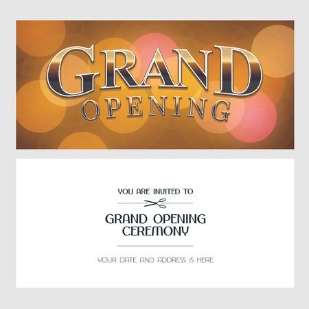 グランドオープニングベクターイラスト、背景、招待カード。テンプレートバナー、ゴールデンサインで開会式に招待