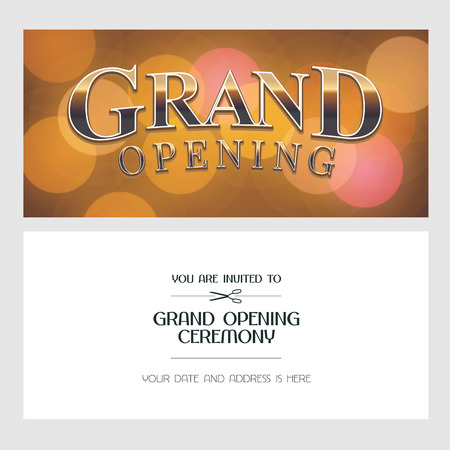 Grand opening vector illustration, background, invitation card. Template banner, invite for opening ceremony with golden sign