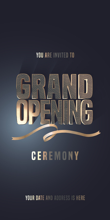 Grand opening vector illustration, invitation card for new store. Template banner, invite for opening ceremony with golden sign and ribbon