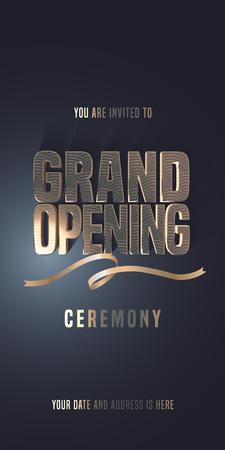 グランドオープニングベクターイラスト、新店舗用招待カード。テンプレートバナー、金色の看板とリボンで開会式に招待