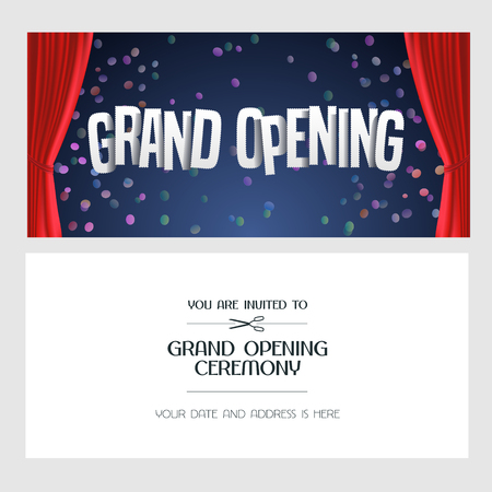 Grand opening vector banner, illustration, invitation card with red curtain. Template invite design for new store opening ceremony