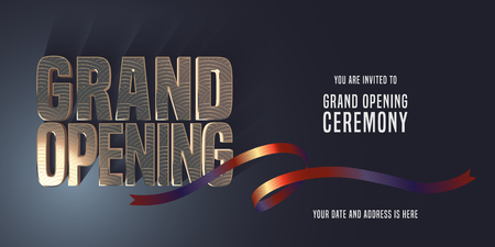 Grand opening vector banner, illustration, invitation card with red ribbon cutting. Template invite design for new store opening ceremony