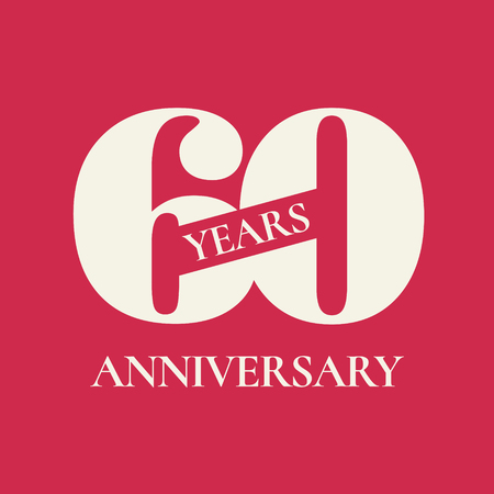 60 years anniversary vector icon, logo. Design element with red color background and number for 60th anniversary