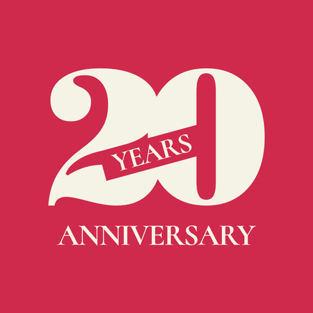 20 years anniversary vector icon, logo. Design element with red color background and number for 20th anniversary