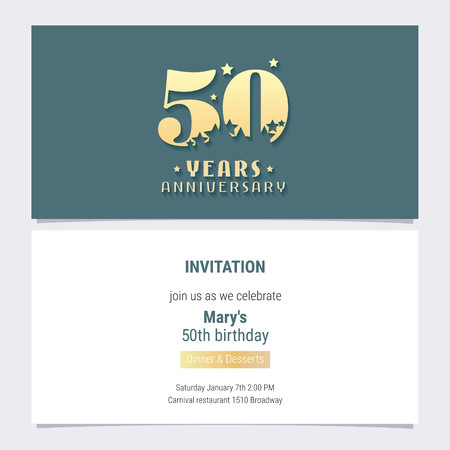50 years anniversary invitation vector