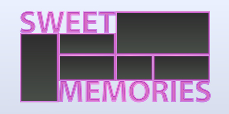 Collage of photo frames illustration, background. Sign Sweet memories and blank photo frames for insertion of pictures