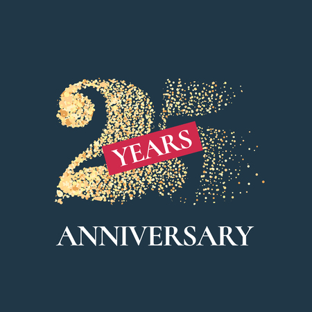 25 years anniversary icon. Graphic design element with golden glitter number for 25th anniversary card Illustration