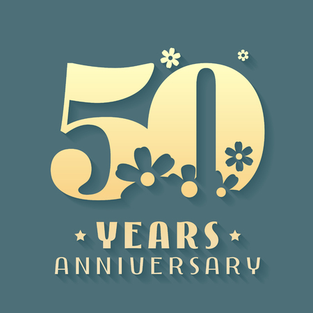 50 Years Anniversary Icon Symbol Graphic Design Element For 50th Birthday Card Or