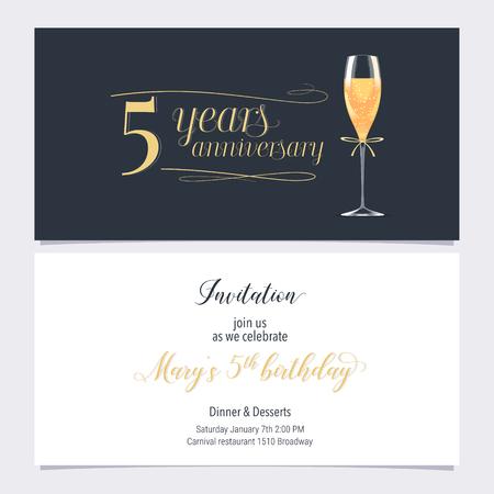 5 jaar verjaardag uitnodiging illustratie. Grafisch ontwerpelement met glas champagne voor 5e verjaardagskaart, partij uitnodigt Vector Illustratie