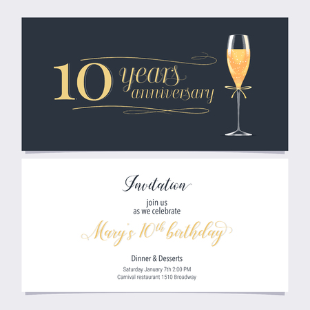 10 years anniversary invitation illustration. Graphic design element with glass of champagne for 10th birthday card, party invite