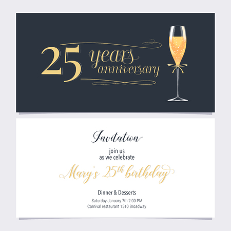 25 years anniversary invitation illustration. Graphic design element with glass of champagne for 25th birthday card, party invite