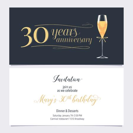 Illustrazione dell'invito di 30 anni anniversario. Elemento di design grafico con bicchiere di champagne per il 30 ° compleanno, invito a una festa Vettoriali
