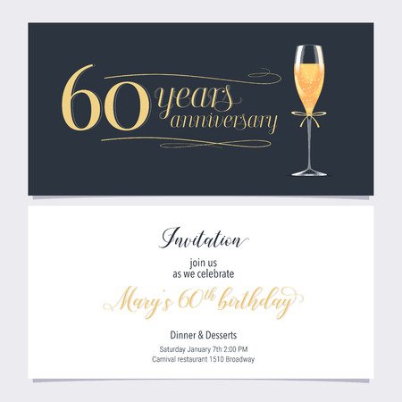 60 years anniversary invitation illustration. Graphic design element with glass of champagne for 60th birthday card, party invite