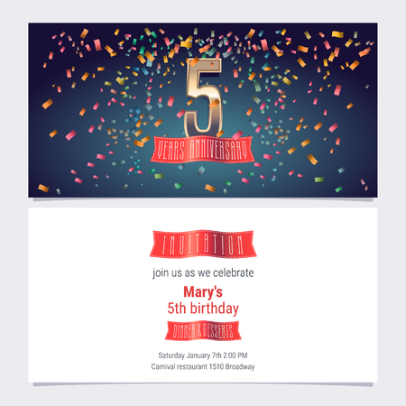 5 years anniversary invitation vector illustration. Graphic design template with golden number for 5th anniversary party or dinner invite Vectores