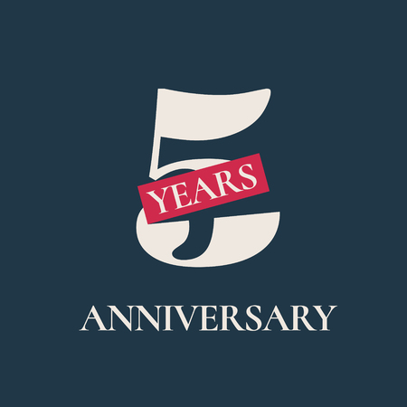 5 years anniversary celebration vector icon, logo. Template graphic design element for 5th anniversary card Illustration