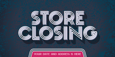 Store closing vector illustration, background with bold sign. Horizontal banner, flyer for store shutting down clearance sale