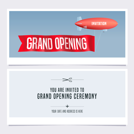 Grand opening vector illustration, invitation card for new store. Template banner with retro blimp, invite for opening event, red ribbon cutting ceremony Vettoriali