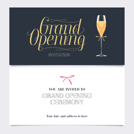 Grand opening vector banner, illustration, invitation card with glass of champagne. Template invite design for new store opening ceremony Vector Illustration