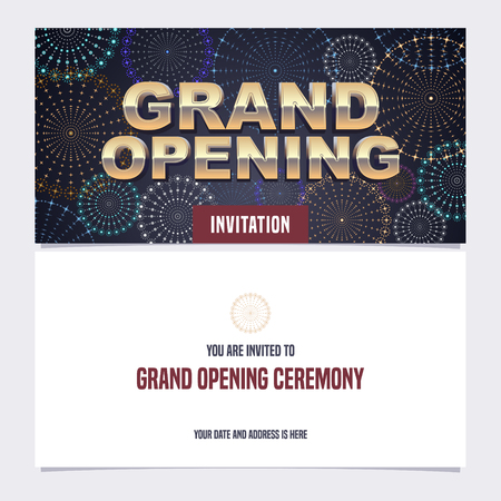 Grand opening vector illustration, background, invitation card. Invite to red ribbon cutting ceremony with template text Illustration