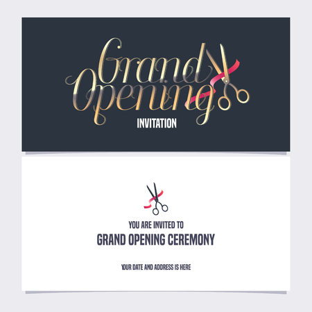 Grand opening banner with red ribbon and scissors vector illustration, invitation card. Template flyer, invite design element for opening ceremony