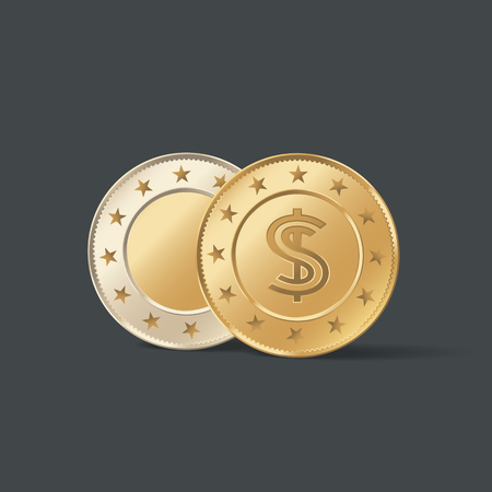 Front and back side of gold metal coin vector illustration. Realistic isolated golden money with dollar symbol Reklamní fotografie - 114831723