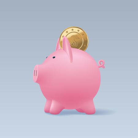 Pig money box with realistic golden coins vector illustration. Design element, clipart with moneybox full of gold coins