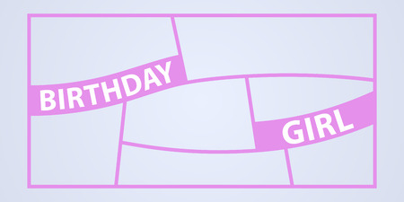 Collage of photo frames vector illustration, background. Sign Birthday girl and template photo frames with borders