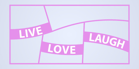 Collage of photo frames vector illustration, background. Sign Live love laugh and template photo frames with borders Ilustração