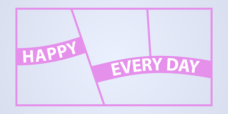 Collage of photo frames vector illustration, background. Sign Happy every day and template photo frames with borders