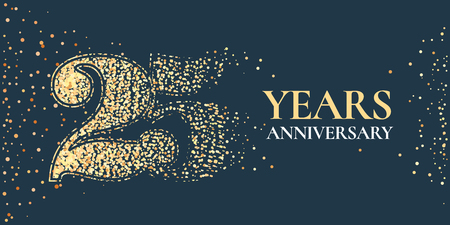 25 years anniversary celebration vector icon, logo. Template horizontal design element with golden glitter stamp for 25th anniversary greeting card Illustration