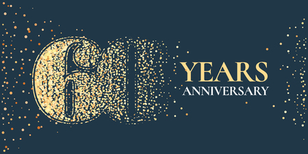 60 years anniversary celebration vector icon, logo. Template horizontal design element with golden glitter stamp for 60th anniversary greeting card 스톡 콘텐츠