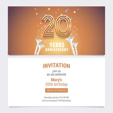 20 years anniversary invitation vector illustration. Graphic design element with golden number and confetti for 20th birthday card, party invite
