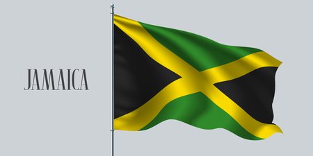 Jamaica waving flag on flagpole vector illustration. Green yellow element of Jamaican wavy realistic flag as a symbol of country Vetores