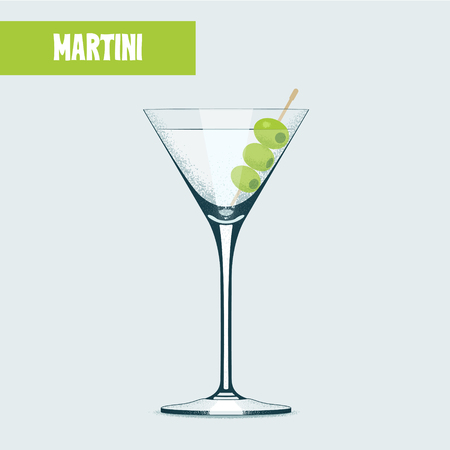 Martini cocktail with olives vector illustration. Design element, poster with martini glass