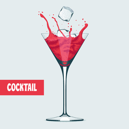 Martini glass with Cosmopolitan cocktail vector illustration. Splash of wine color cocktail with ice cubes in martini goblet
