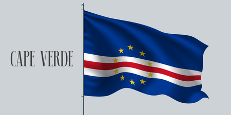 Cape Verde waving flag on flagpole vector illustration. Blue white element of Cabo Verde wavy realistic flag as a symbol of country Vector Illustration