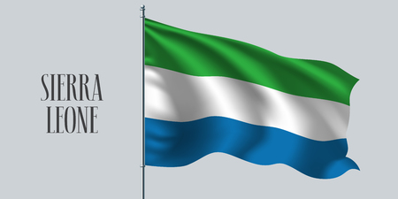 Sierra Leone waving flag on flagpole vector illustration. Three colors element of Sierra Leone wavy realistic flag as a symbol of country